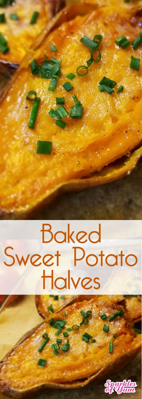 Baked Sweet Potato Halves - With this easy no fuss method, we'll definitely be putting sweet potatoes into our meal plan more often. #sweetpotato #recipe #healthy