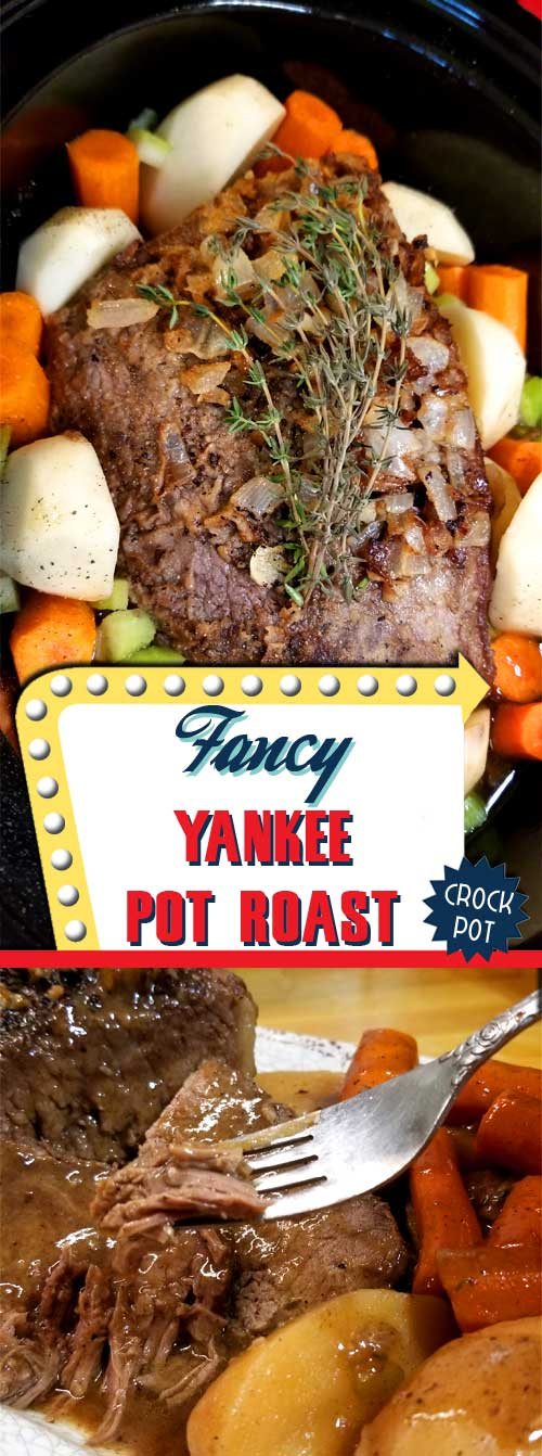 When thinking about comfort food, there is nothing more comforting than a savory, succulent, and satisfying Fancy Yankee Pot Roast. #comfortfood #potroast #beef #dinnerideas #slowcooker