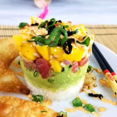 Spicy Tuna Sushi Stack with Wonton Crisps