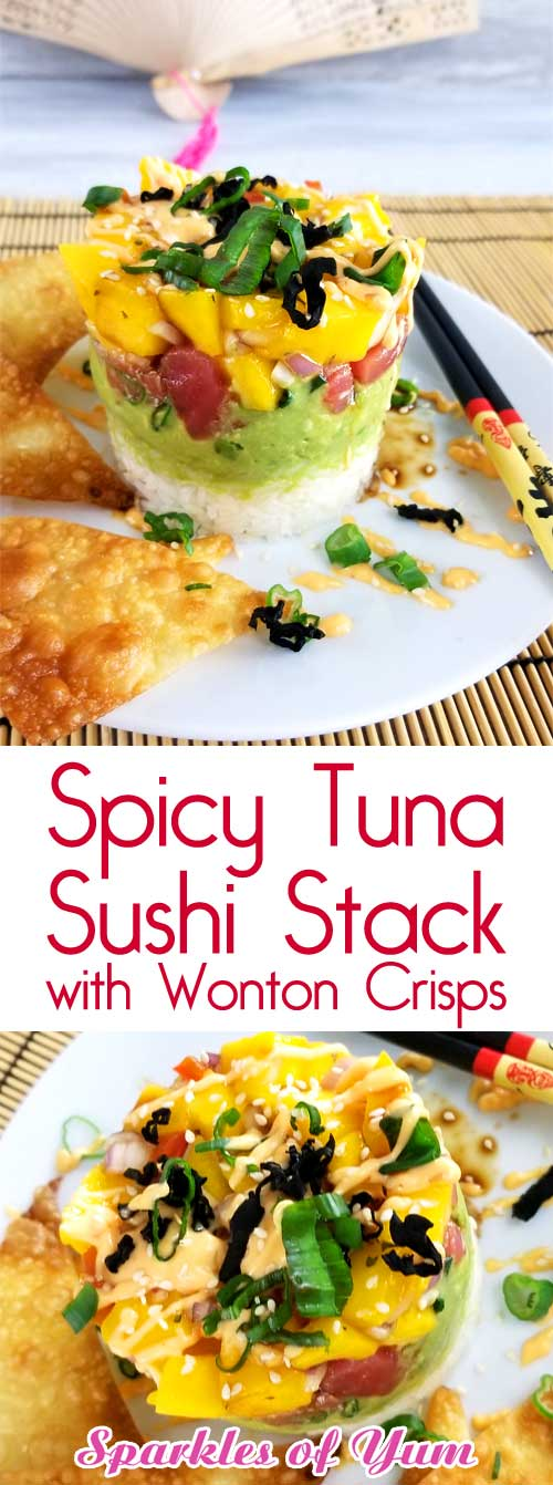 This Spicy Tuna Sushi Stack with Wonton Crisps is so good and not very complicated to make. The perfect solution for when you have a craving for sushi and just can't fork out the big bucks. Umami=deliciousness #sushinight #datenightin #ahistack #ahitower