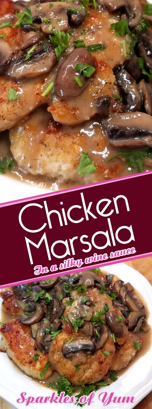 Chicken Marsala is oh so easy and delicious, complete with a silky rich wine sauce that you do not need chef skills to prepare. It\'s no wonder that it is a family favorite. #chickenrecipe #datenight #budgetcooking #fancyfrugal