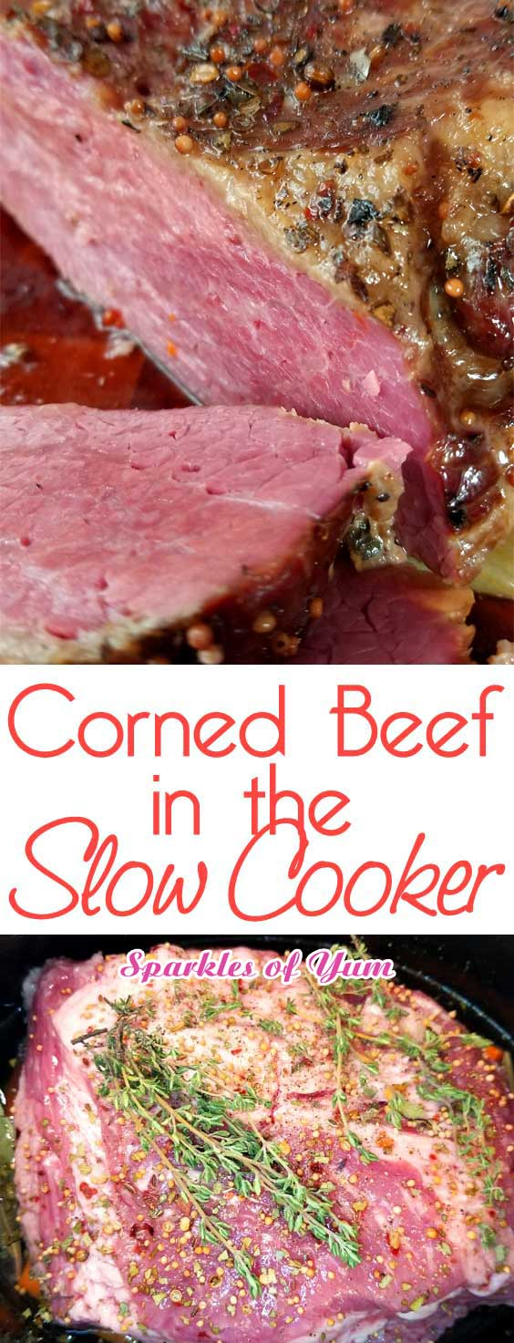 Hands down my favorite corned beef is from the slow cooker. It has got to cook low and slow to get to that point where it just practically melts in your mouth, fork tender. #slowcookerrecipe #cornedbeef #stpatricksday