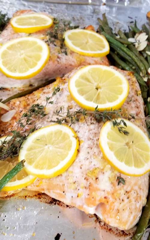 Lemon Thyme Salmon Recipe - Not only was this One Pan Lemon Thyme Salmon with French Green Beans and Almonds beyond easy, it was divine! It tasted even better than I expected; bursting with flavor; and with minimal clean-up.