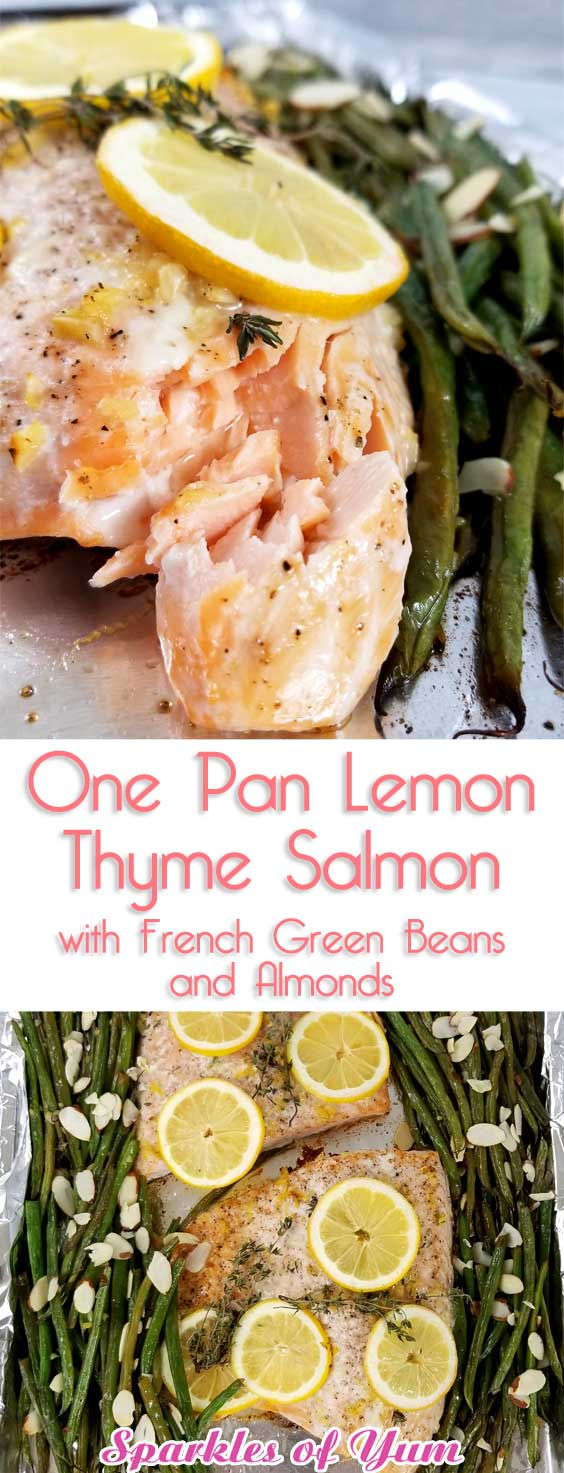 Not only was this One Pan Lemon Thyme Salmon with French Green Beans and Almonds beyond easy, it was divine! It tasted even better than I expected; bursting with flavor; and with minimal clean-up. #healthyeating #seafoodrecipe #glutenfree #lowcarb #keto