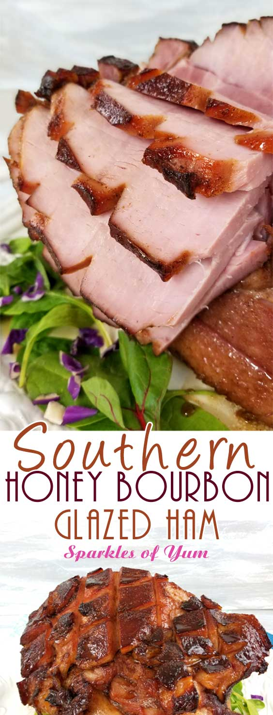 TA DA!! Between the deep, smoky, sweet flavors from the bourbon to the fragrance of the warm spices caramelizing on the ham; it's hard not to pick pieces off of thisSouthern Honey Bourbon Glazed Ham before it's ready to hit the table. #holidayham #easterham #southerncooking #glazedham
