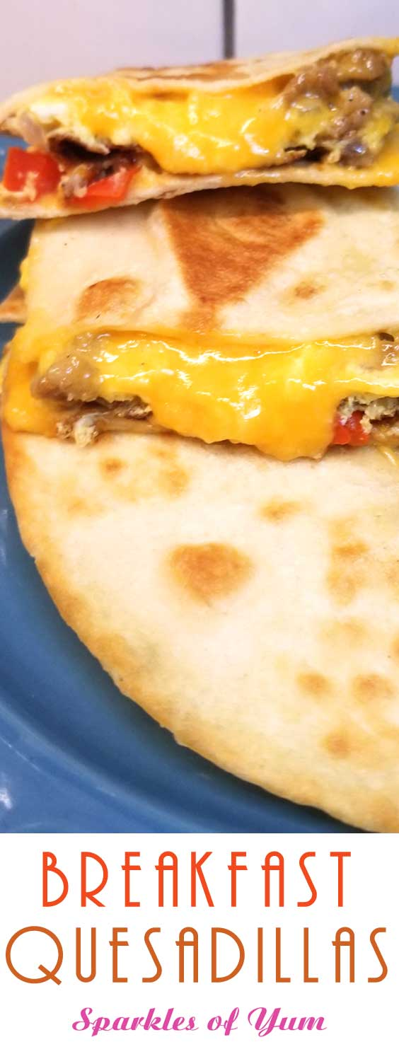 Simple quick easy cheesy, a little bit crispy, and always yummy Breakfast Quesadillas are a nice change of pace for the breakfast table. Well I think they'd be good at lunch or dinner too! #breakfastrecipe #breakfastidas #easyrecipe