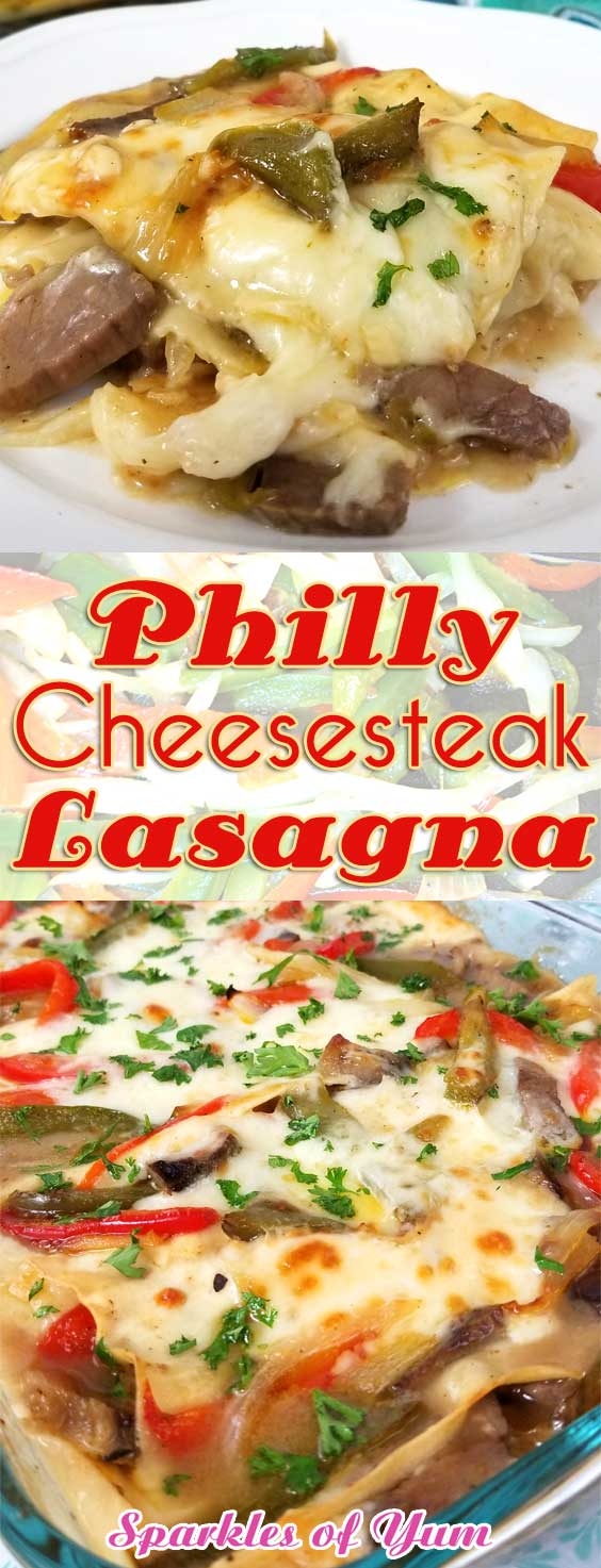 Introducing, Philly Cheesesteak Lasagna! A complete gathering of comfort foods - all in one dish. A hardy scrumptious family dinner with not much fuss, and something a little outside the normal lasagna (which I also love). #comfortfood #casserolerecipe #lasagnarecipe #phillycheesesteak