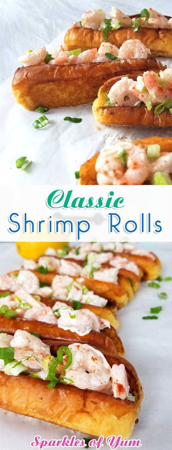 Sweet shrimp slathered in a lemon dill mayo sauce, all jammed into a potato roll. It\'s like taking your taste buds on a trip to a New England beach, all without leaving town. #shrimprecipe #easyrecipe #simpledish #sandwiches