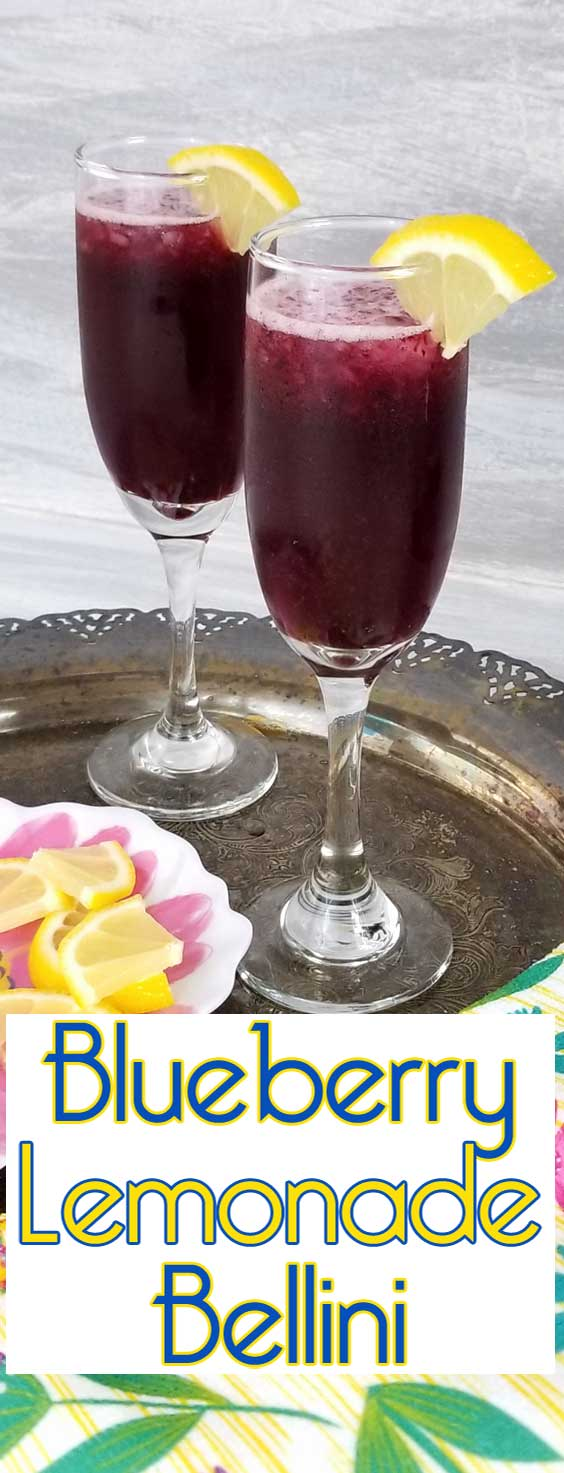 Blueberry Lemonade Bellini - Sweet and tangy. A refreshing lemon twist for our Blueberry Lemonade Bellini makes this very berry bellini a perfect fruity favorite brunch sipper, because well we love sparkling brunch drinks. #blueberrydrink #brunchdrink #drinkrecipe