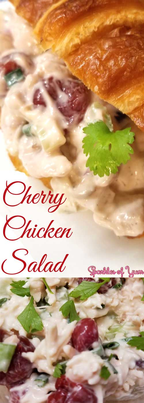 ThisCherry Chicken Salad recipe is delicious, easy to make, and perfect for those days when it is just too hot or busy to be bothered with using the stove. #chicken #sandwich #summer #chickensalad