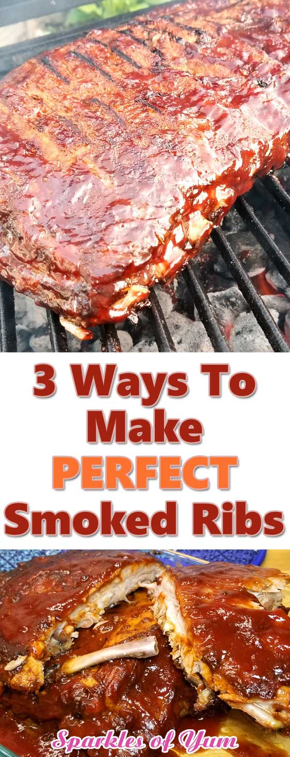 3 ways to make the perfect smoked ribs! These BBQ ribs are saucy and juicy with non-stop flavor, all the way down to the bone. That's how ribs are suppose to be in my book! #bbq #ribs #smoked #grilling