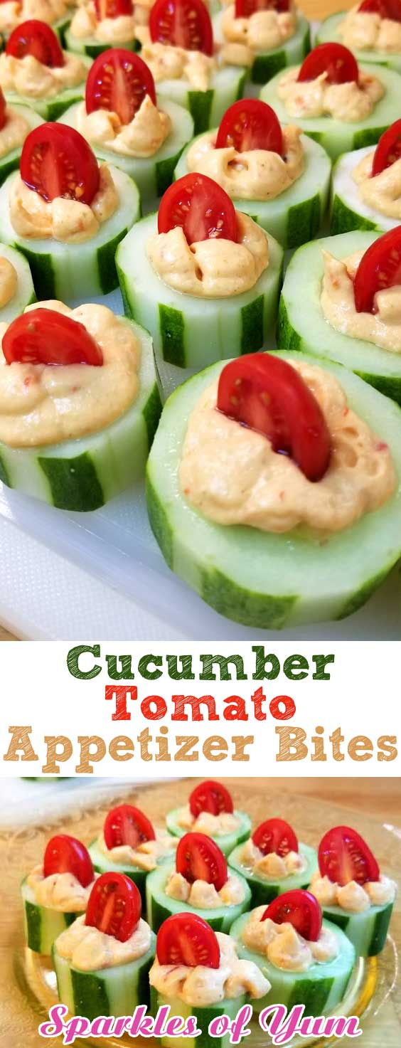 The perfect fresh and flavorful appetizer. These Cucumber Tomato Appetizer Bites are filled with a zesty roasted red pepper hummus, making for a quick and easy dish when entertaining or just a healthy snack. #cucumber #tomato #hummus #appetizer #partyfood #easyrecipe