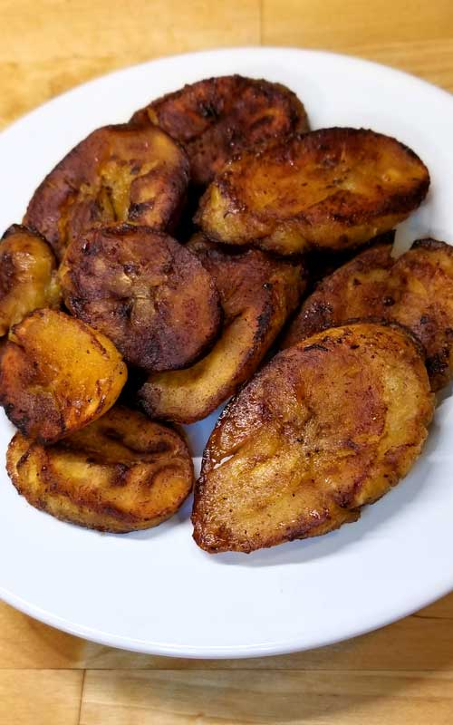 These Sweet Fried Plantains were crispy on the outside, soft inside, and the flavor was perfect! The trick to good plantains is to let them get all the way ripe; which is a lot of black on the skin, that's when they are the sweetest.