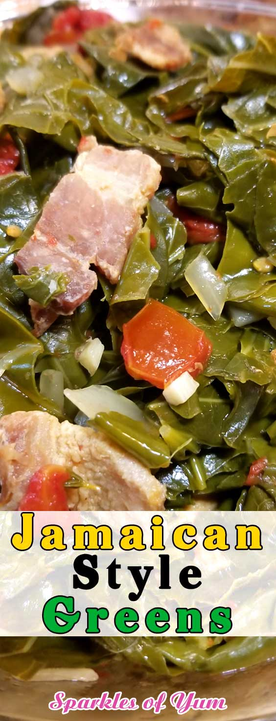 If you like greens, you\'re gonna LOVE this recipe for Jamaican Style Greens. Absolutely delicious, and will definitely be a staple in our household! #jamaican #kale #collardgreens #sidedish