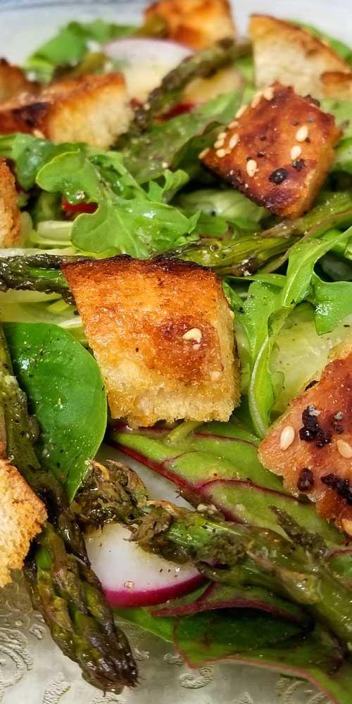 """What better way to get your dark leafy greens than in an awesome, fresh from the garden, summer, Panzanella Salad with """"Everything"""" Garlic Bread and a zesty Lemon Dijon Dressing. It was deee-lish!"""