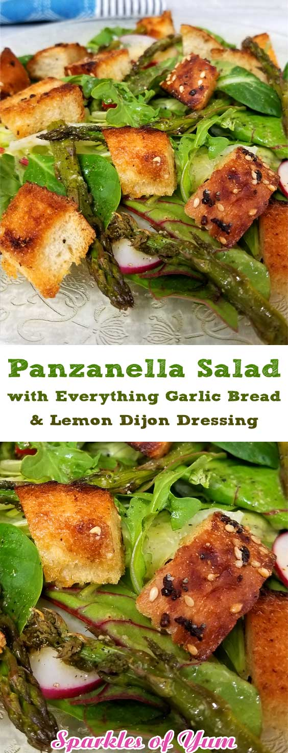 Panzanella Salad with Everything Garlic Bread & Lemon Dijon Dressing - What better way to get your dark leafy greens than in an awesome fresh from the garden summer Panzanella Salad with