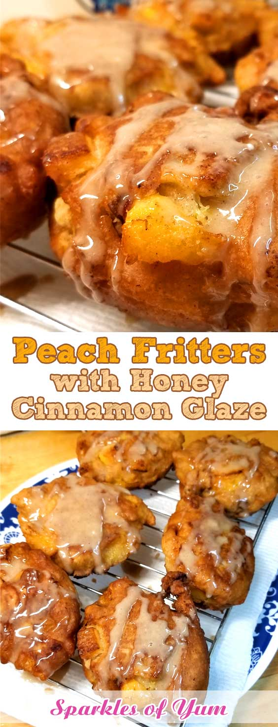 When fresh peaches are at the farmers market, and it\'s too damn hot to turn the oven on, you make Peach Fritters with Honey Cinnamon Glaze! And they are so good, you can\'t even come up with words for how good they are. #peaches #summer #breakfast #dessert #fritters