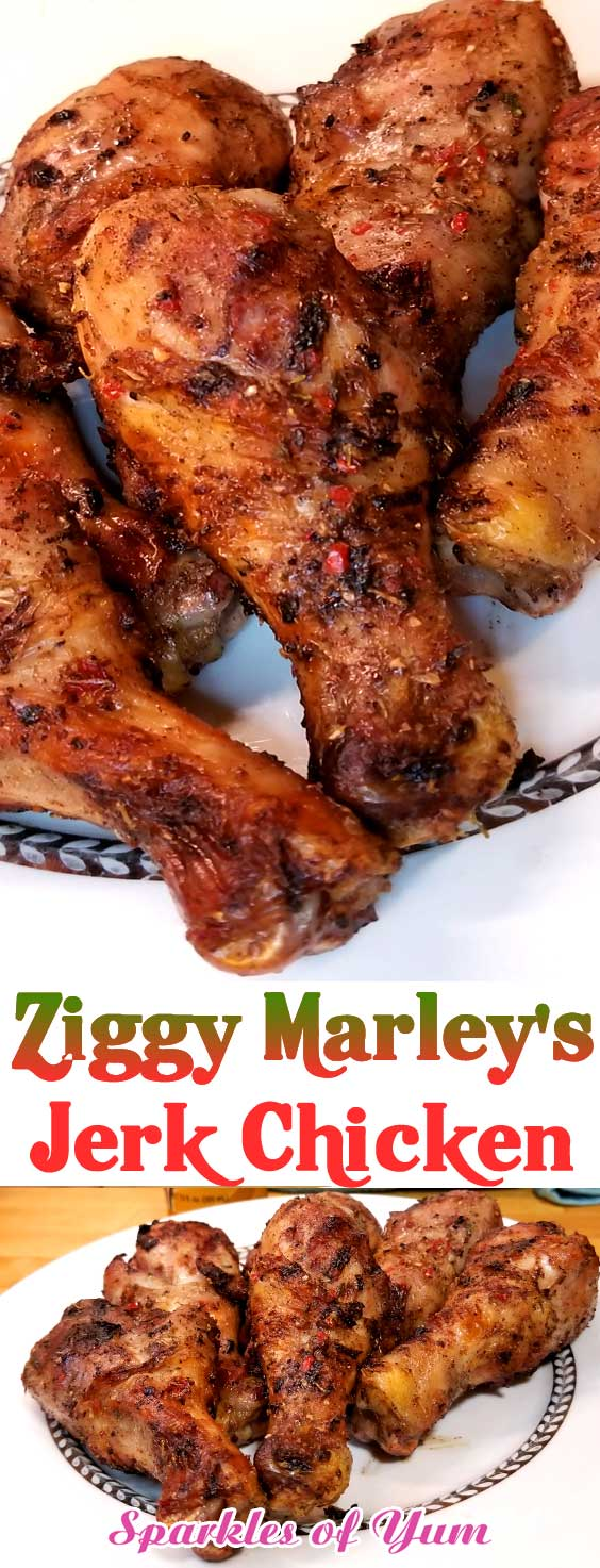 Ziggy Marley\'s Jerk Chicken is for you if you like it hot. Perfectly grilled chicken topped with a spicy and savory glaze. Take your taste buds to the island, without ever leaving your home! #grilledchicken #Jamaican #jerkchicken #dinnerideas