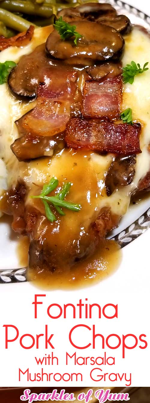 Fontina Pork Chops with Marsala Mushroom Gravy - Juicy flavorful pork chops blanketed with melted fontina cheese and covered with a garlicky Marsala mushroom gravy. An easy delicious home cooked meal with restaurant quality. #porkchops #mushrooms #gravy #dinnerideas #oneskillet
