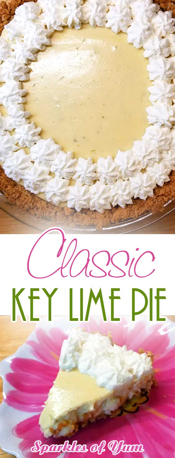 This Classic Key Lime Pie hits all of your tastebuds. You may even get up and do a dance in between bites. It\'s so creamy and tangy at the same time, so easy and so delicious! Pure yum! Good luck stopping at one piece! #pie #lime #keylime #dessert #classic #keylimepie