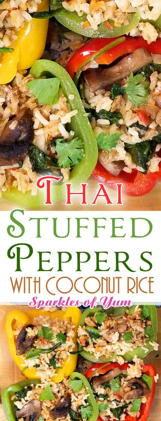 Today I have a unique twist on the average stuffed pepper recipe - Thai Curry Stuffed Peppers - SO FLAVORFUL! #dinnerideas #thai #stuffedpeppers #turkey