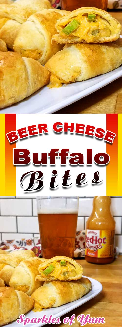 Beer Cheese Buffalo Bites - If your a fan of Buffalo Chicken, your going to fall in love with these little Beer Cheese Buffalo Bites wrapped in warm buttery crescent rolls perfect for football munching or TV binging. #buffalo #appetizer #partyfood #tailgating #gametime #chicken