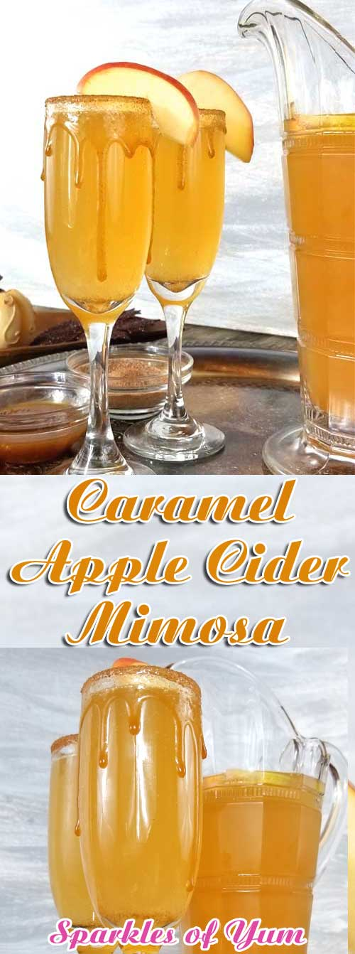 Whatever get-together you have planned for this fall, from birthdays, to book clubs, to Thanksgiving morning, this Caramel Apple Cider Mimosa will bring all the flavors of fall together for the perfect celebration! #apple #applecider #mimosa #brunch #drink #cocktail #fall #autumn