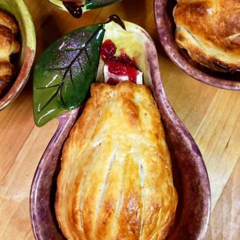 Pastry Wrapped Pears with Cranberries and Brie