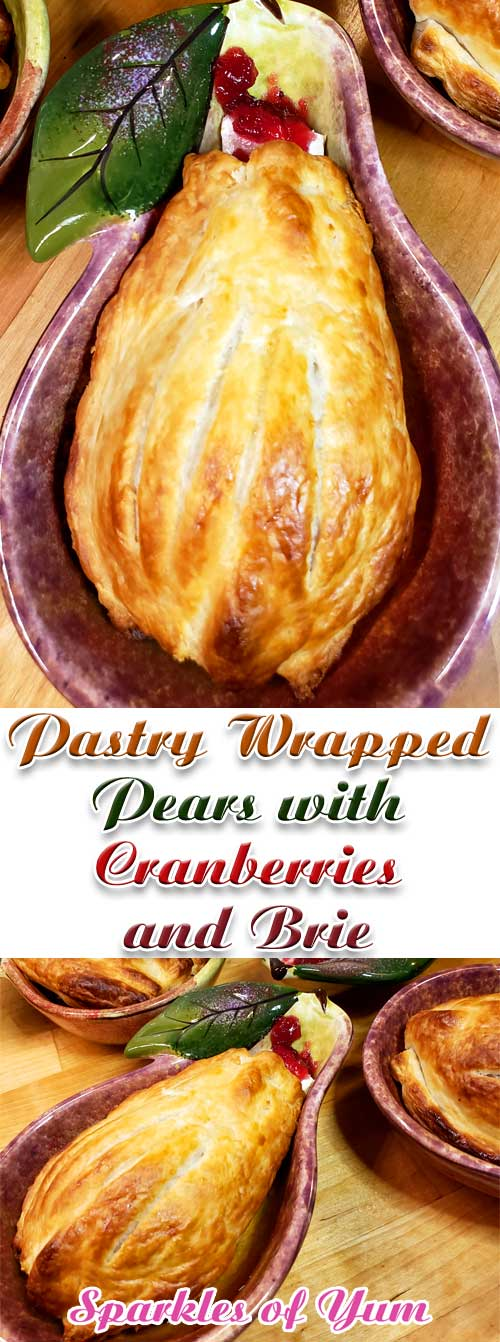 Pastry Wrapped Pears with Cranberries and Brie - Impress your guests with a beautiful puff pastry dressed pear nestled in with warm brie and cranberry sauce. These Pastry Wrapped Pears with Cranberries and Brie are a delicious easy dessert anyone can make and it only takes a few minutes! #pear #puffpastry #brie #cranberries #dessert #baking #fallbaking