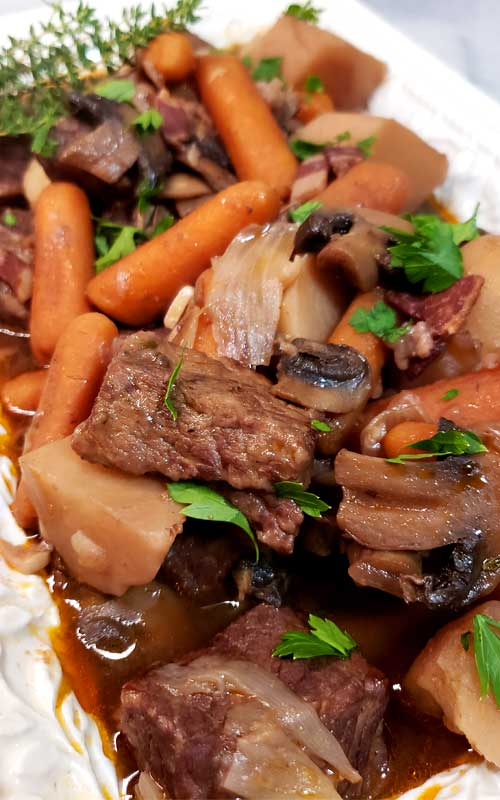 No knife needed, spoon tender, and so much flavor. You can't go wrong with thisInstant Pot Beef Bourguignon, and it's EASY.