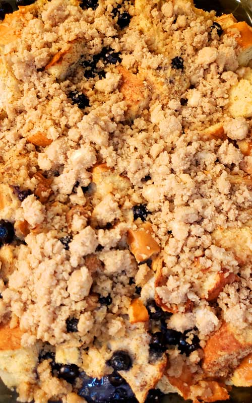 Perfect for a holiday morning or weekend brunch. This Easy Blueberry French Toast Casserole with Streusel Topping is a family favorite that is oh so easy to make.