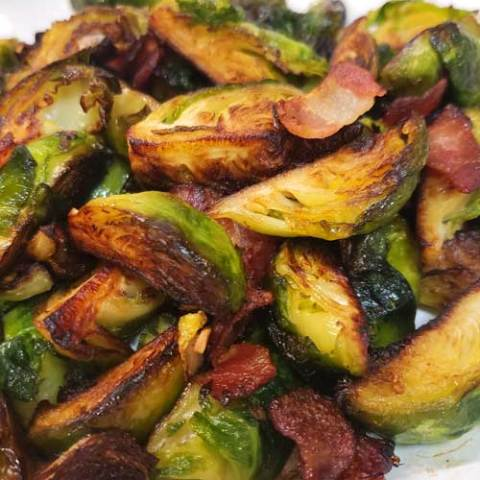 Crispy Skillet Brussels Sprouts with Bacon & Garlic Butter