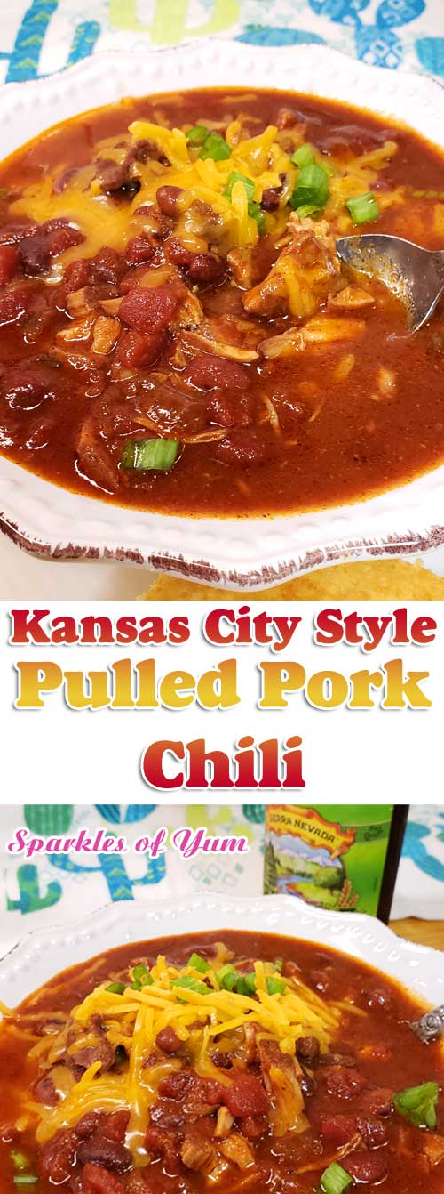 Kansas City Style Pulled Pork Chili - Sweet meets heat in this hearty Kansas City Style Pulled Pork Chili. Be sure to grab a cold brewsky because one's going in the pot to add to the complex flavors of this Midwestern favorite! #chili #pork #KansasCity #comfortfood #midwest