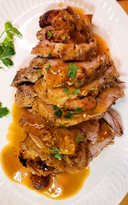 Fabulously flavorful, with a sweet and tangy glaze, sotender and juicy, I can't wait to make thisPork Roast with Brown Sugar Apple Dijon Glaze again.