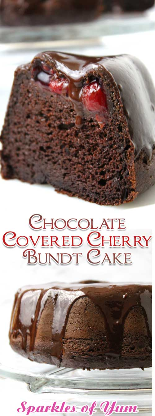 So easy and oh so decadent. You won't even believe how very moist, rich and delicious this Chocolate Covered Cherry Bundt Cake is! #chocolate #cherry #cake #dessert