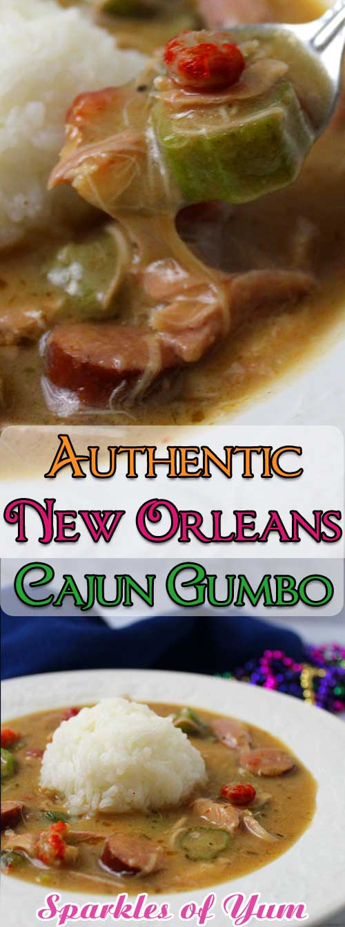 Lawd have mercy, this Authentic New Orleans Cajun Gumbo is unbelievably delicious, thick, rich and full of Cajun flavor! #Cajun #MardiGras #gumbo #dinnerideas