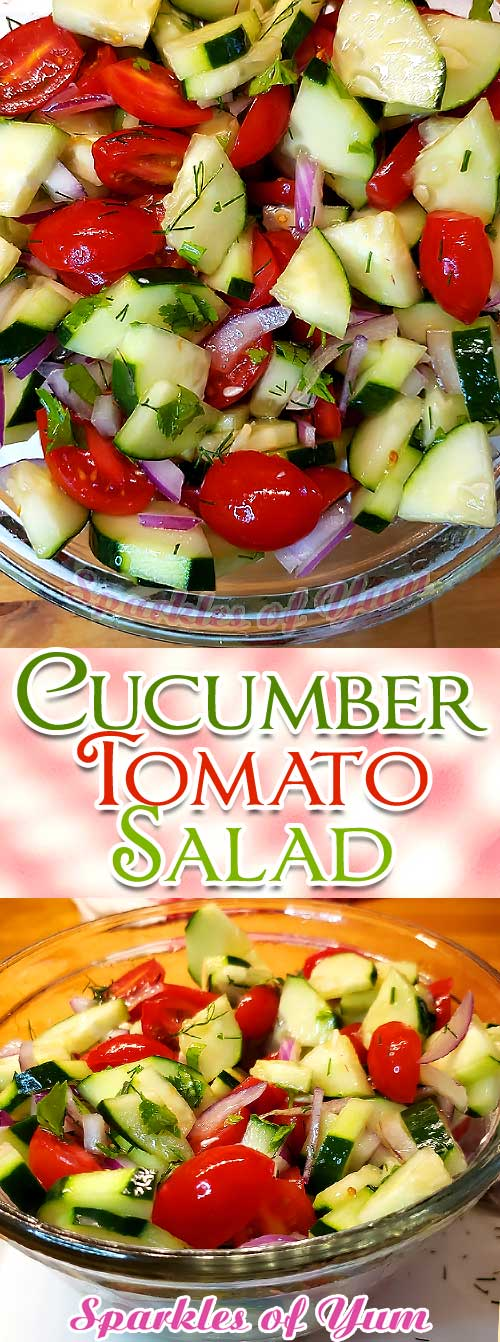 So simple, fresh, and healthy. This Cucumber Tomato Salad is the perfect side dish for anything summer! #cucumber #tomato #salad #sidedish #summer