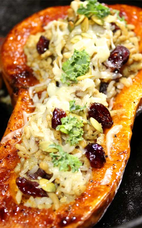 This Stuffed Butternut Squash with Chicken and Rice is a great healthy fall dinner. Easy to prepare and tastes delicious with all the savory flavors of fall.