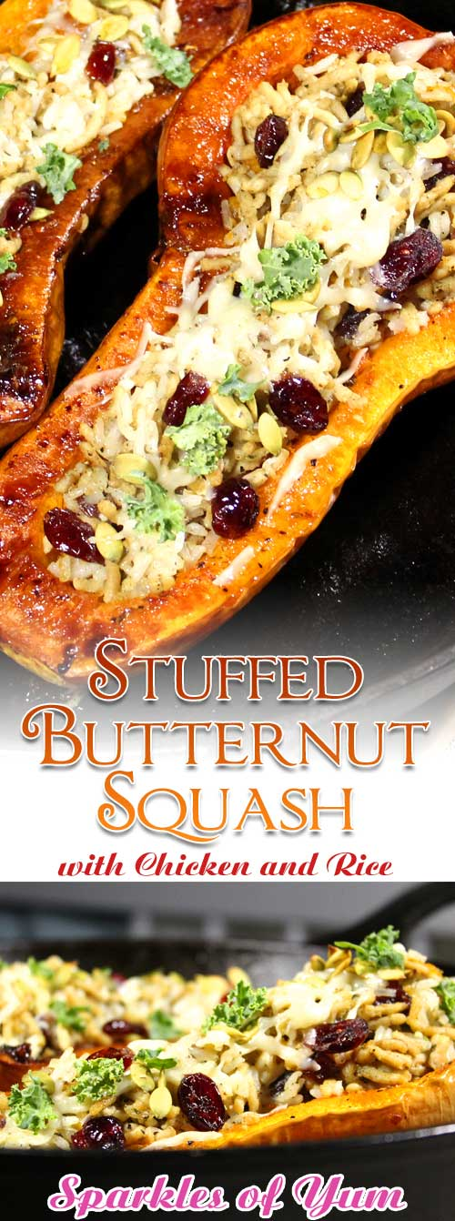 This Stuffed Butternut Squash with Chicken and Rice is a great healthy fall dinner. Delicious and easy to prepare with all the savory flavors of fall. #butternut #squash #chicken #rice #dinnerideas #fall
