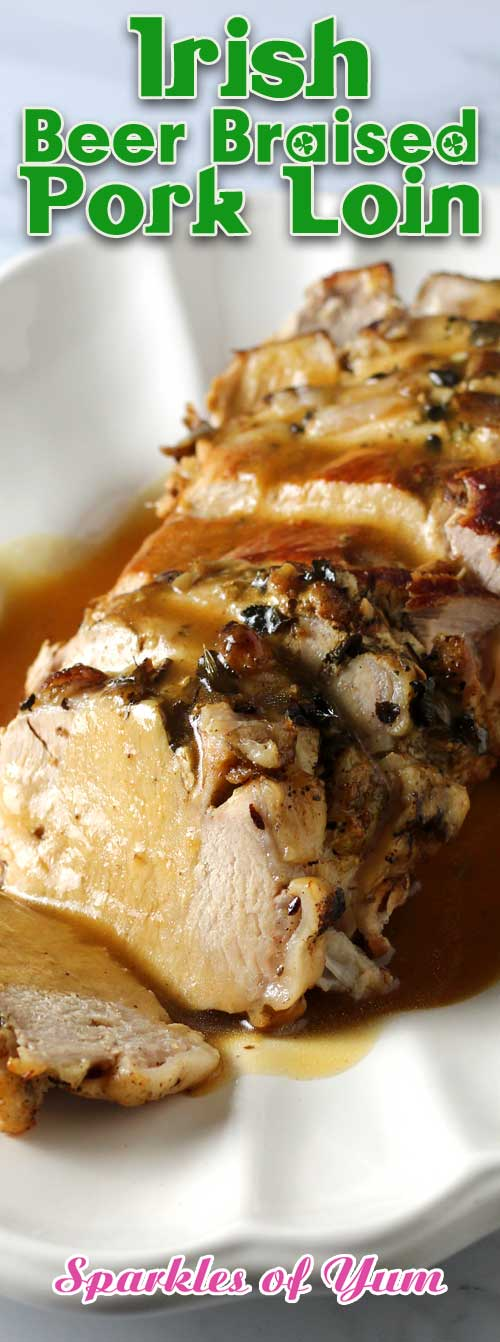 This super easy Irish Beer Braised Pork Loin recipe makes for one of the most tender and delicious roasts you will ever have. #dinnerideas #pork #loin #beer #braised #Irish #Guinness