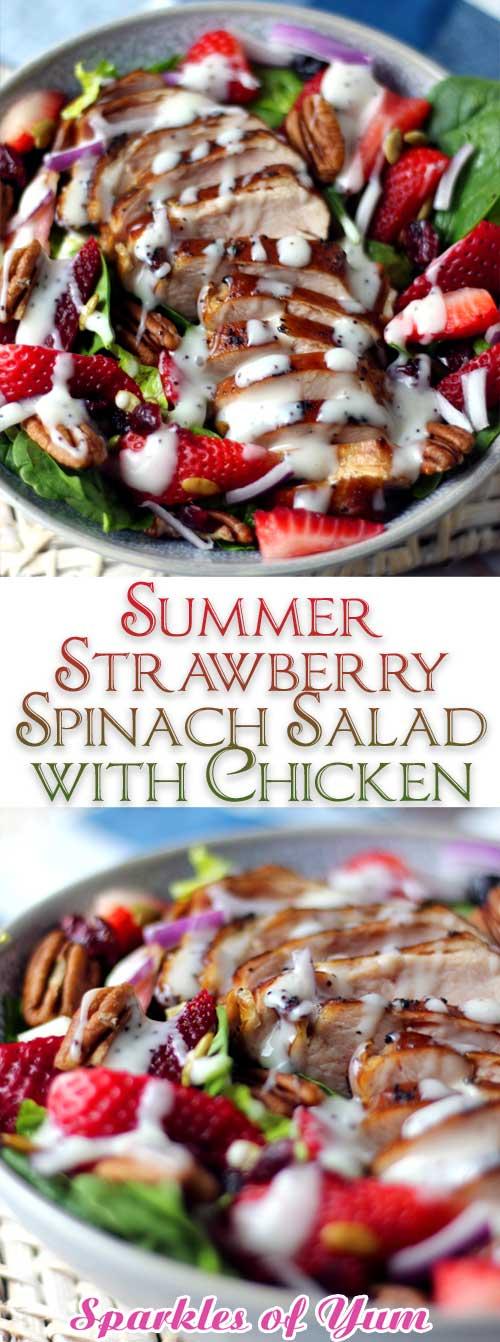 Summer Strawberry Spinach Salad with Chicken