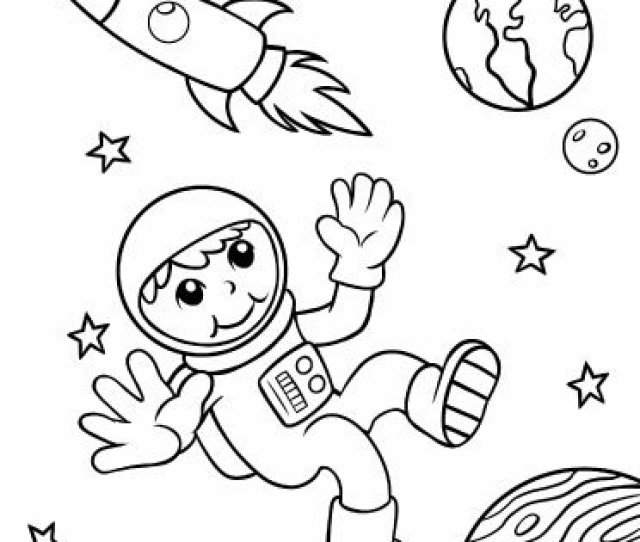 Astronaut In Outer Space Coloring Page Sparkling Minds