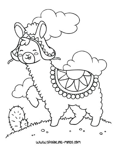 Llama Coloring Page For Kids Sparkling Minds