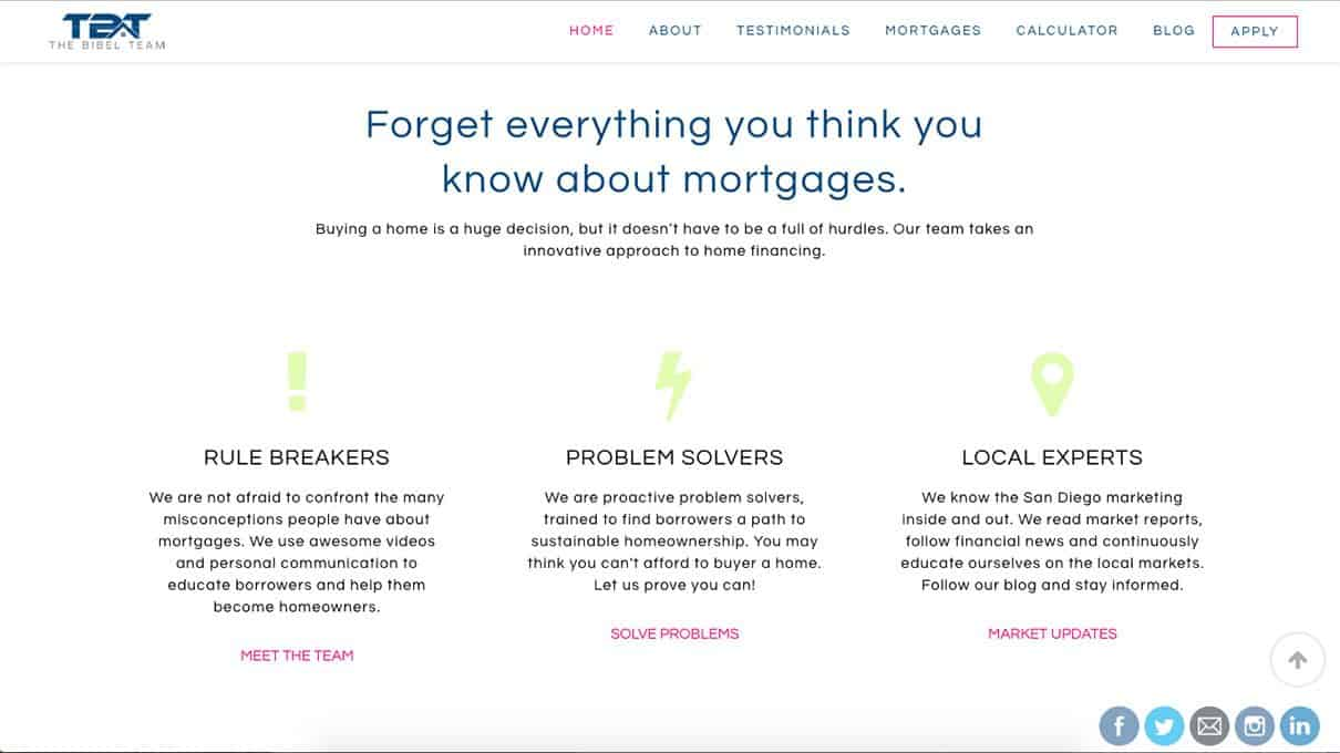 Best mortgage website design Eric Bibel Team