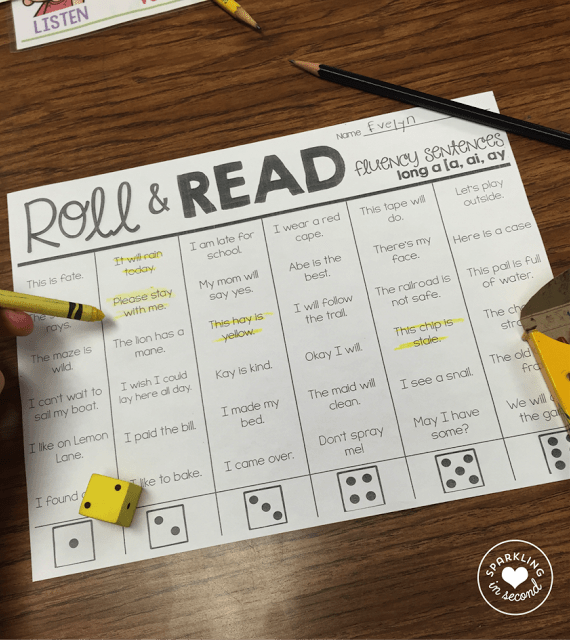 A fun and engaging way to practice fluency with phonics, spelling patterns, dice, and quick sentences that use sight words!