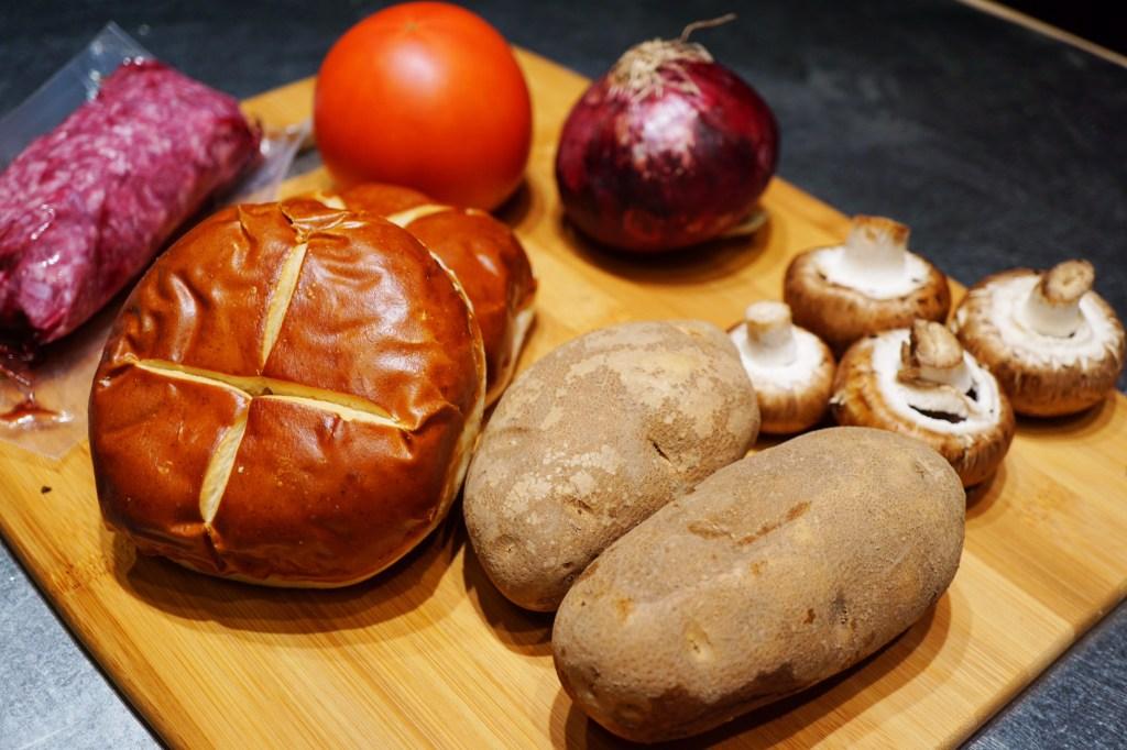 Home Chef Mushroom and Swiss Beef Burger