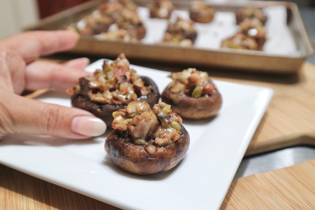 Stuffed Mushrooms with Bacon and Sausage Appetizer