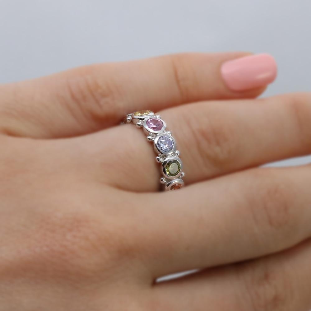 Sterling Silver Multi Colored Eternity Ring SAAR0041