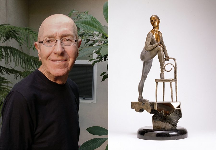 "Sculptor Victor Fisher and his piece from the Souther California Sculpture exhibition ""Stephanie"""