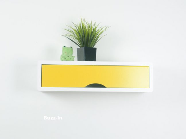 Contemporary Floating Shelf, White Wall Cabinets Yellow